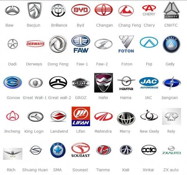 названия значки китайских автомобилей