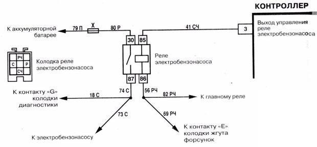 схема реле бензонасоса