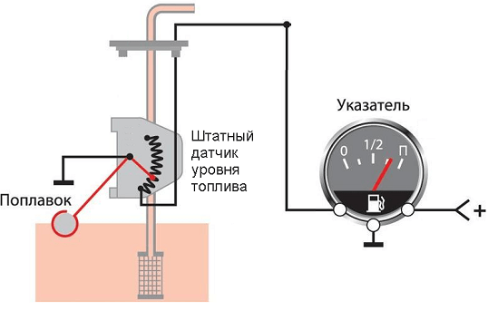 схема датчик уровня бензина